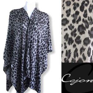 CEJON Grey Leopard Print Wrap Scarf Poncho